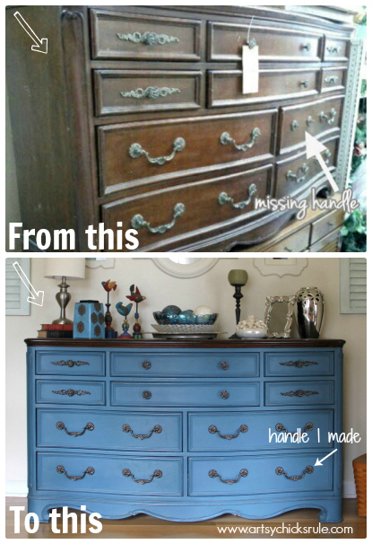 Aubusson Blue Dresser Plus Missing Handle I Made to Match - artsychicksrule.com #diy #hardware #missinghandle