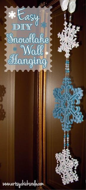 Easy, DIY Snowflake Wall Hanging- artsychicksrule.com