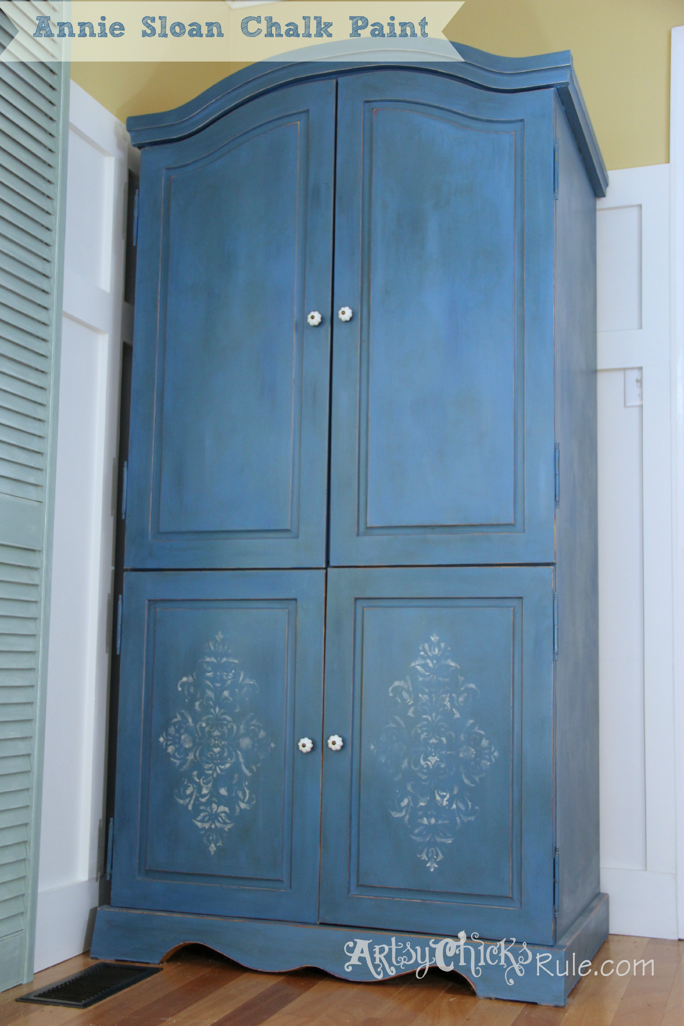 Armoire transformed twice finishing up with chalk paint for Annie sloan chalk paint ideas
