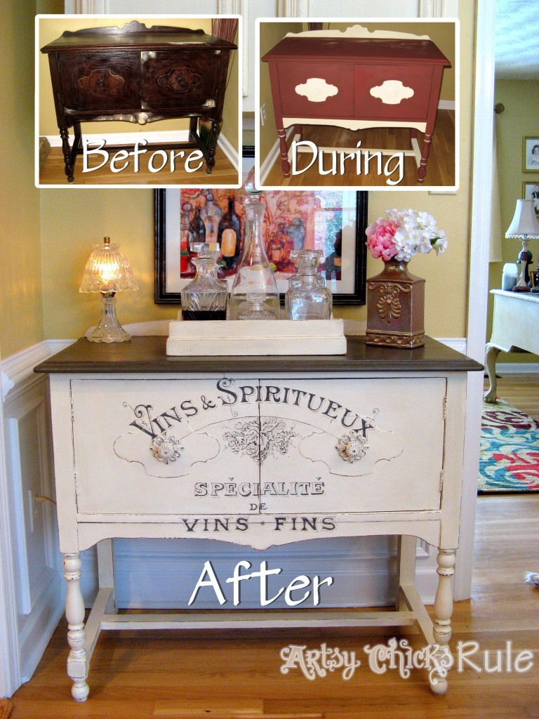 Antique Sideboard Before, During and After with Chalk Paint - artsychicksrule.com #chalkpaint