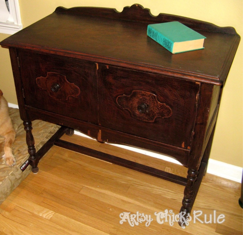 Antique Sideboard Makeover - 2 Times the Charm-BEFORE