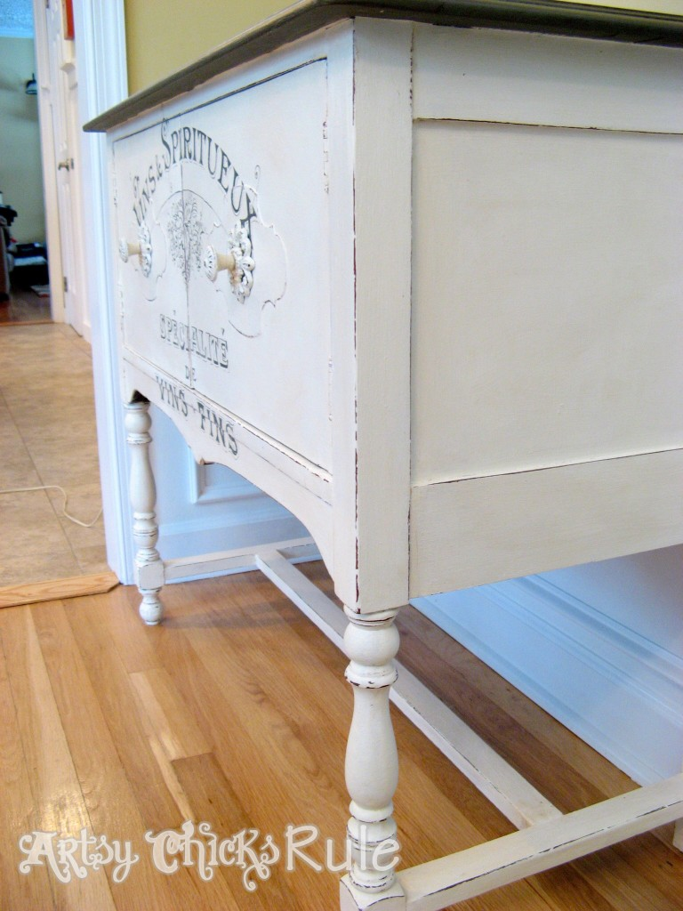 Antique Sideboard Makeover - 2 Times the Charm-Sideview Finished