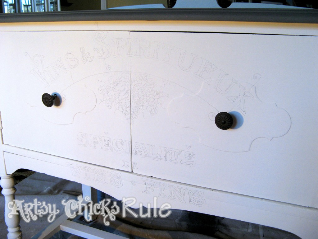 Antique Sideboard Makeover - 2 Times the Charm-drawn in