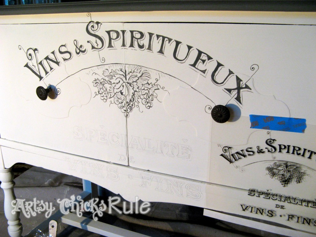 Antique Sideboard Makeover - 2 Times the Charm-painting the graphic in