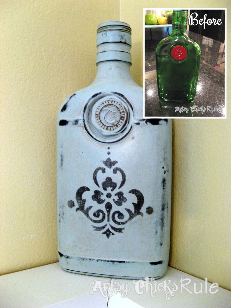 Empty Gin Bottle to Home Decor / Chalk Paint & Stencil / Artsy Chicks Rule
