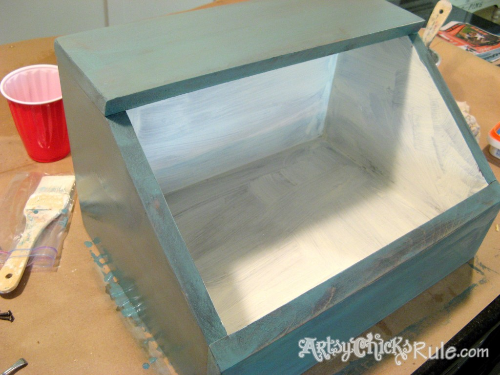 Bread Box Makeover - First Coat Kitchen Scale Milk Paint