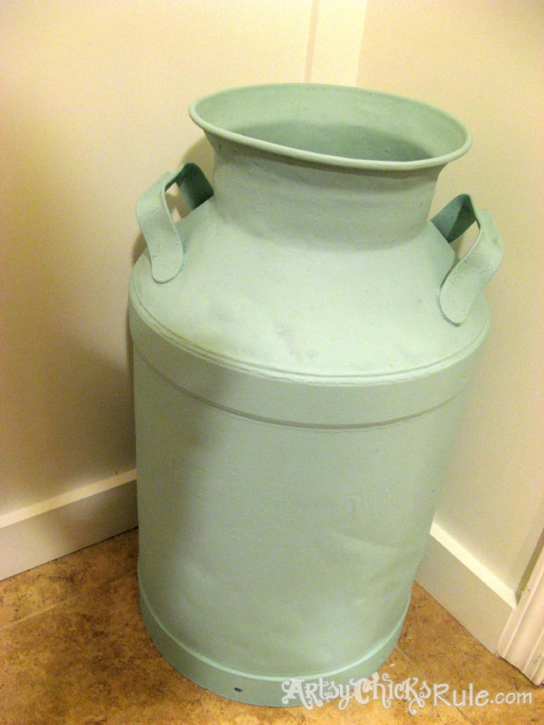 Milk Can Redo with Graphics-First Coat Teal-Latex - artsychicksrule.com