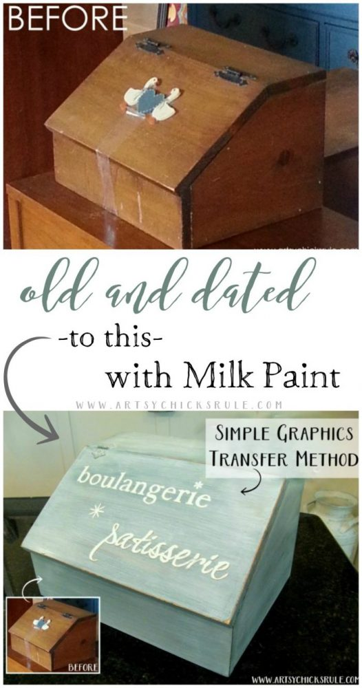 Old Bread Box Transformed with Milk Paint artsychicksrule.com