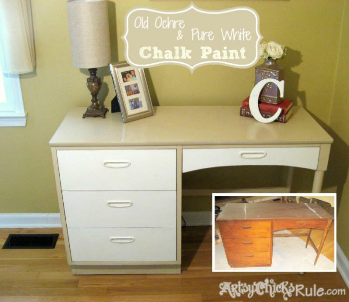 Retro Desk Makeover with Chalk Paint-beforeafter