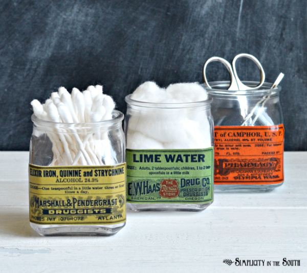 diy-decoupaged-vintage-label-jars