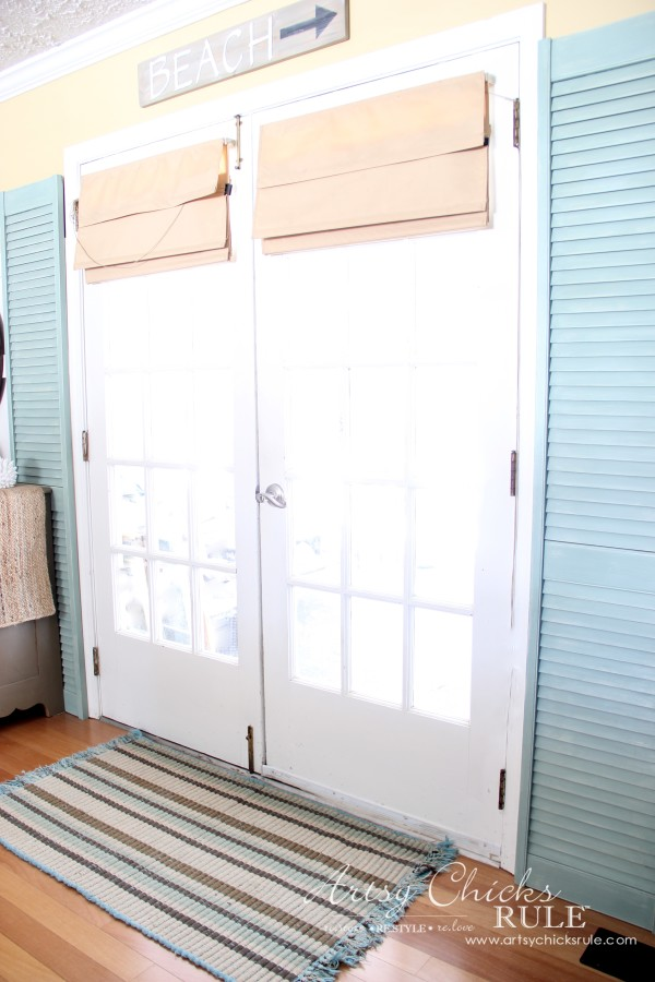 Bi Fold Doors turned Shutters - #duckeggblue #chalkpaint #repurposed #artsychicksrule