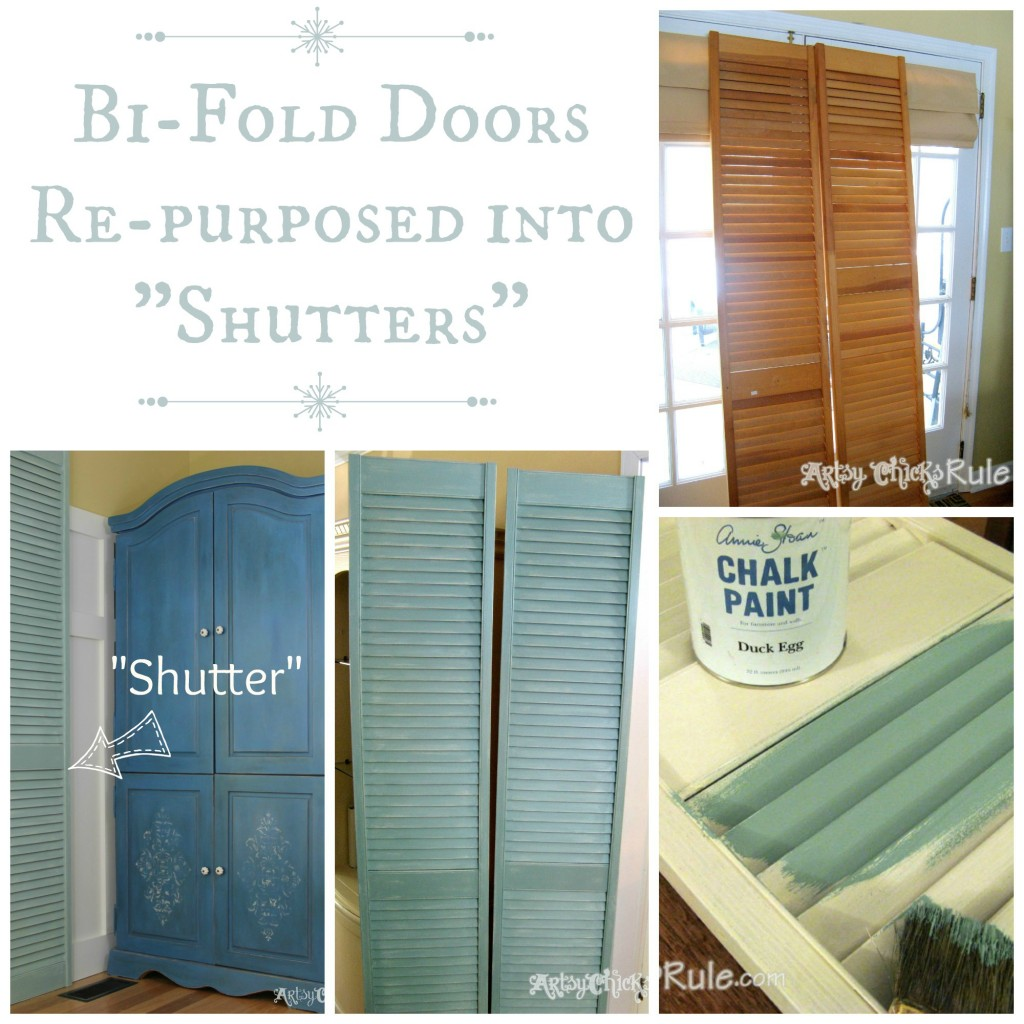 Bifold Kitchen Cabinet Doors Repurposed Bi Fold Doors Duck Egg Blue Chalk Paint Artsy