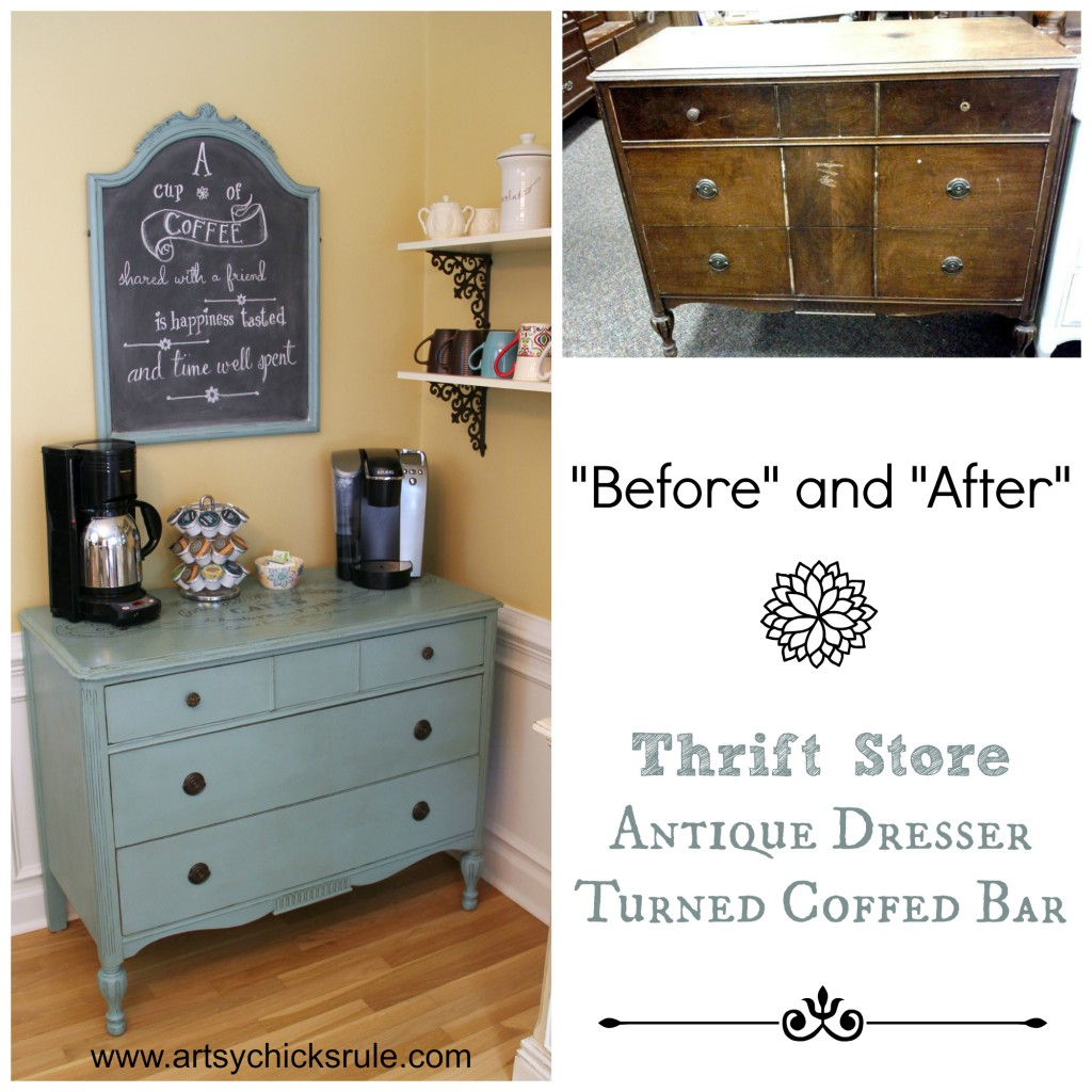 Coffee Bar Before and After - artsychicksrule.com #coffeebar #coffee