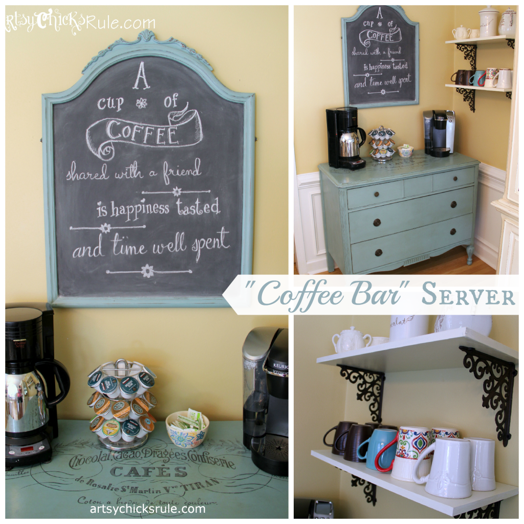 Kitchen Chalkboard With Shelf Coffee Bar Server W Shelves It Moved Artsy Chicks Rulear
