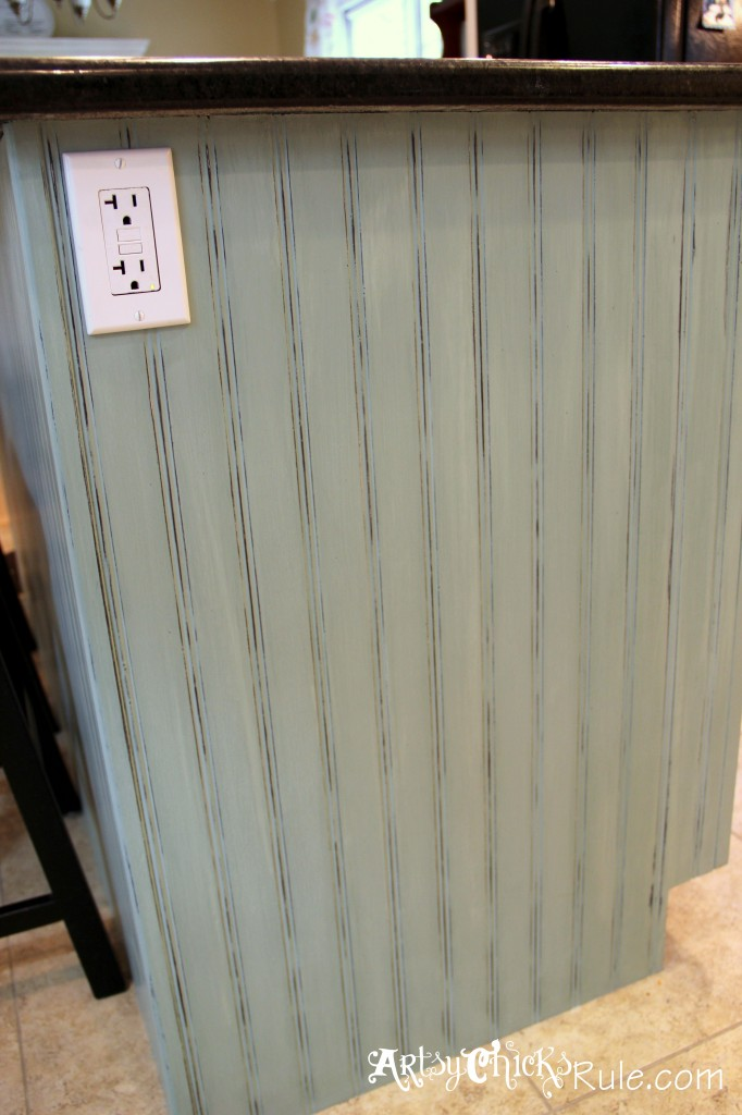 Kitchen Island Makeover Duck Egg Blue Chalk Paint- artsychicksrule.com #chalkpaint #duckeggblue #kitchenmakeover