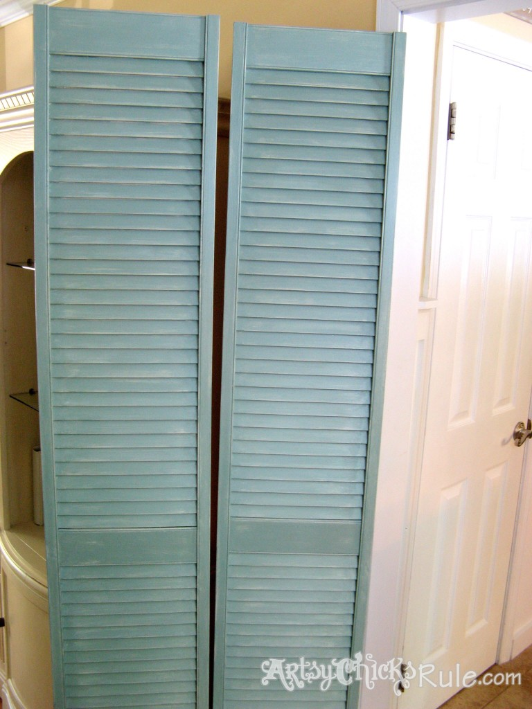 Duck Egg Blue Shutters Repurposed -Finished