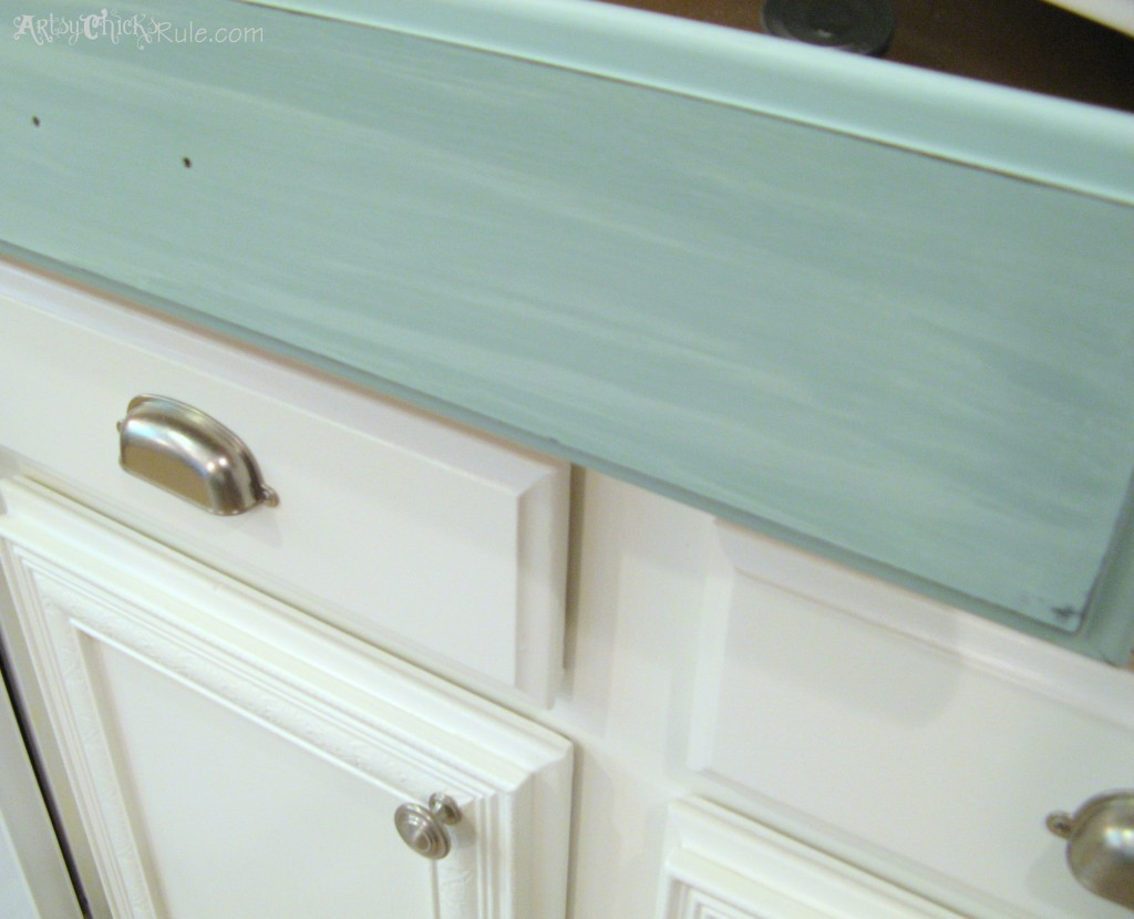 Kitchen Island Makeover Duck Egg Blue Chalk Paint- artsychicksrule.com #chalkpaint #duckeggblue #kitchenmakeoverDuck Egg Blue Washed Effect