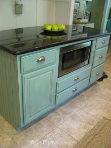 Kitchen Island Duck Egg Blue with Washed Effect