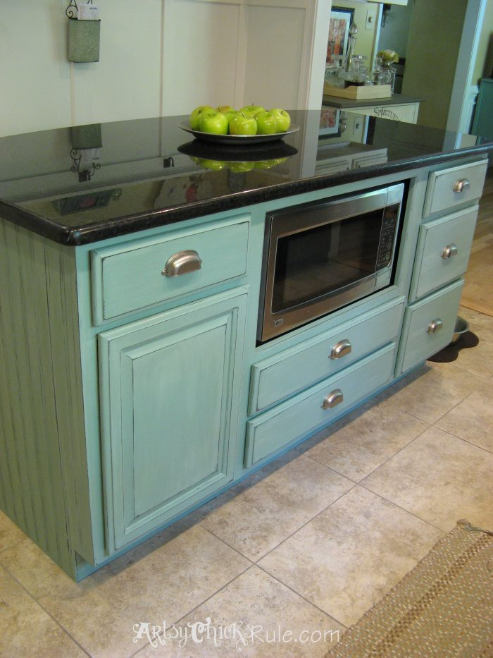 kitchen island makeover duck egg blue chalk paint
