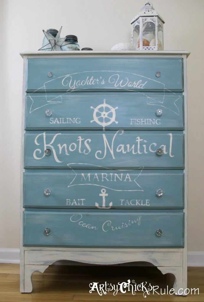 Thrift Store Dresser - Coastal Decor- Annie Sloan Chalk Paint with Custom Graphics