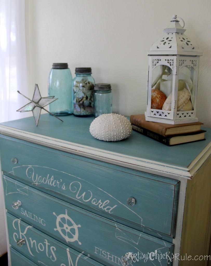 Thrift Store Dresser- Coastal Theme- Annie Sloan Chalk Paint