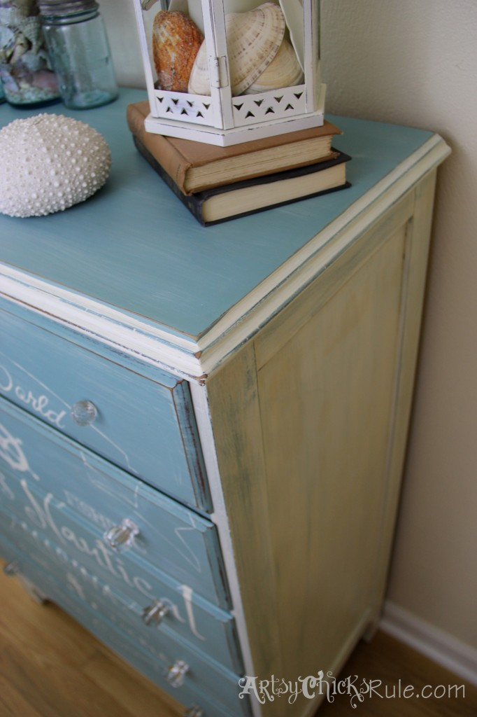 Thrift Store Dresser-Complete- Coastal Theme with Annie Sloan Chalk Paint