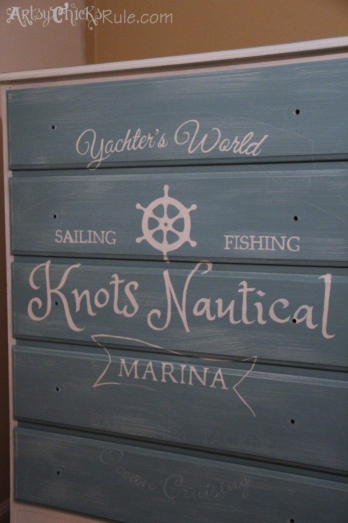 Thrift Store Dresser During Painting of Custom Graphics- Annie Sloan Chalk Paint
