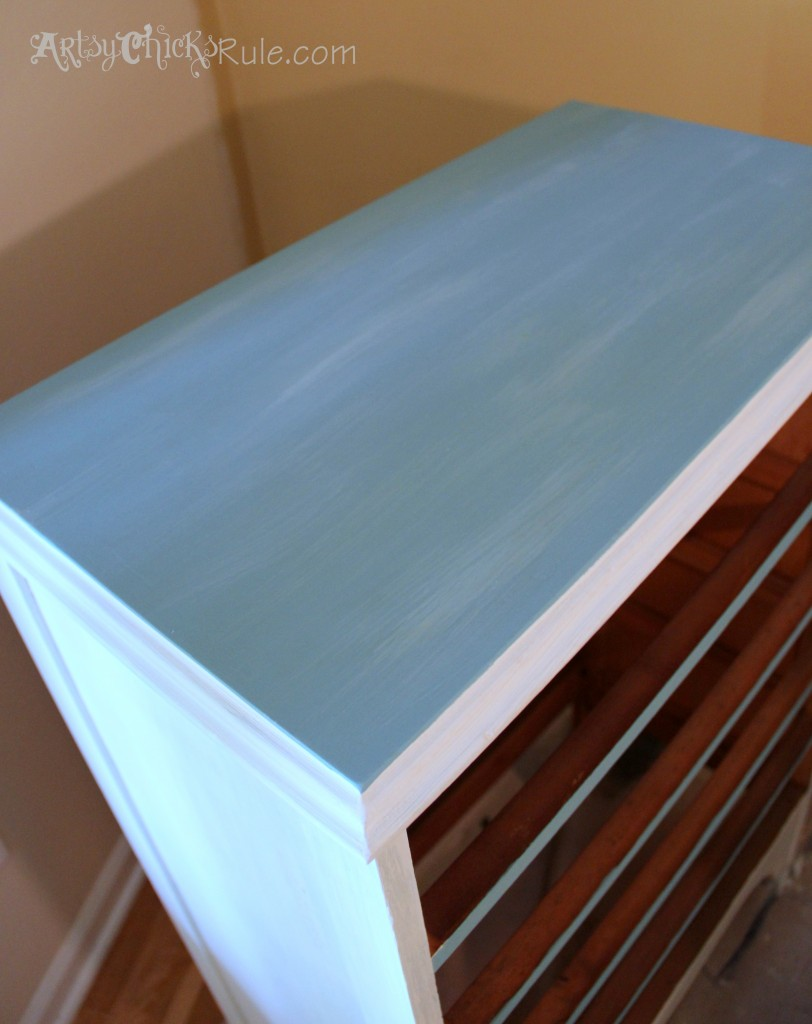 Thrift Store Dresser - Old White and Provence Chalk Paint Top