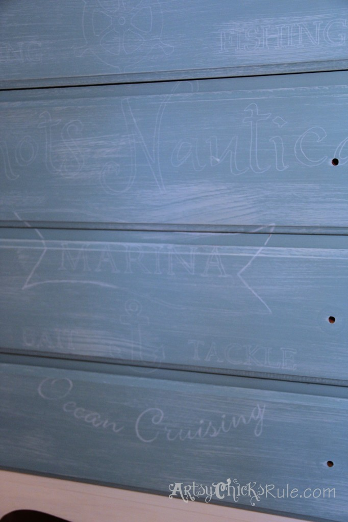 Thrift Store Dresser - Up Close Custom Graphics over Provence Chalk Paint