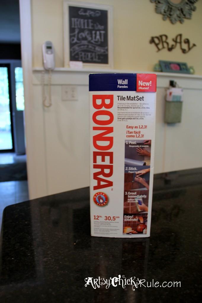 Kitchen Tile Backsplash- Bondera instead of Mortar- artsychicksrule.com #backsplash #tile #diy