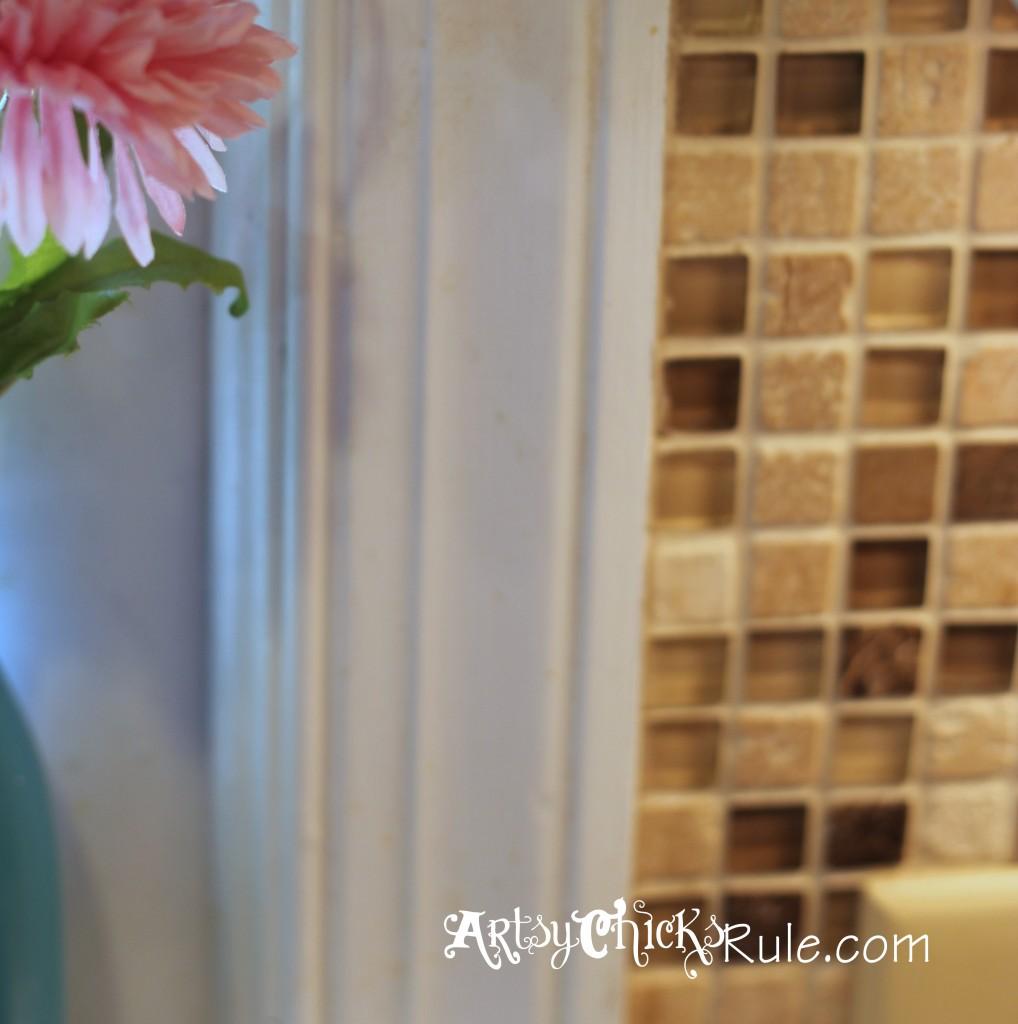 Kitchen Tile Backsplash- Top edge of tile- artsychicksrule.com #backsplash #tile #diy