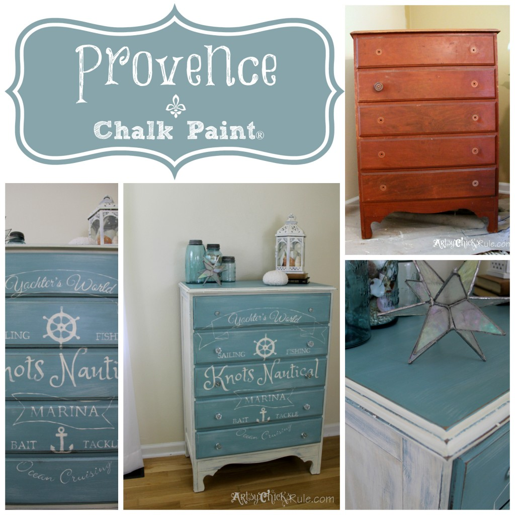 Knots Nautical -Provence Chalk Paint Dresser Collage- before - after