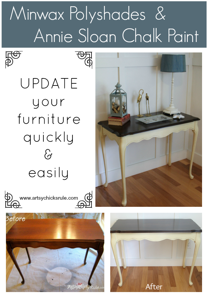 Antique Sofa Table Redo with Polyshades and Chalk Paint - updated quickly and easily with these 2 products- artsychicksrule.com #polyshades #chalkpaint