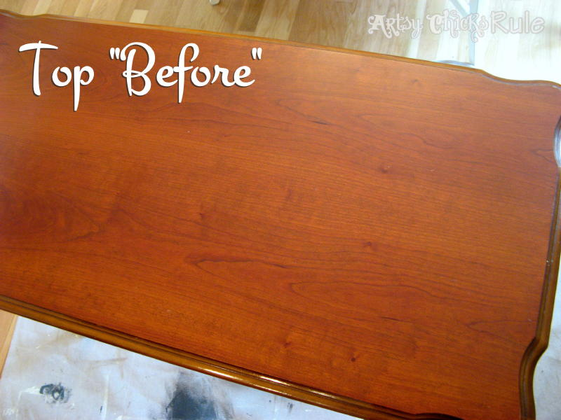 Antique Sofa Table Renewed with Minwax Polyshades & ChalkPaint-Before Top- artsychicksrule.com #polyshades #chalkpaint