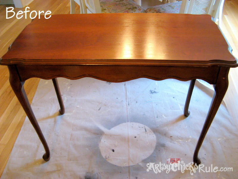 Antique Sofa Table Renewed with Minwax Polyshades & ChalkPaint-Before- artsychicksrule.com #polyshades #chalkpaint
