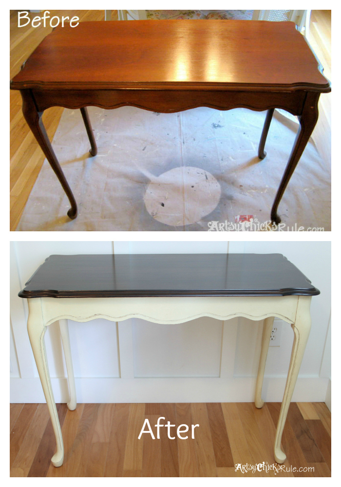 Update Old Wood Stained Furniture Easily amp Quickly  : Before and After Minwax Polyshades Annie Sloan Chalk Paint from www.artsychicksrule.com size 700 x 1000 jpeg 352kB