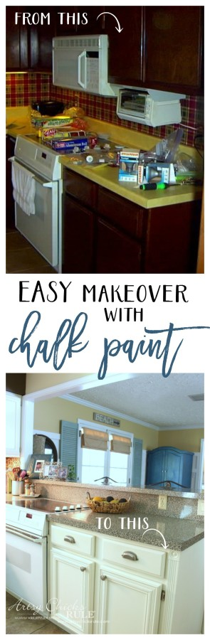 EASY Kitchen Cabinet Makeover with Chalk Paint - artsychicksrule