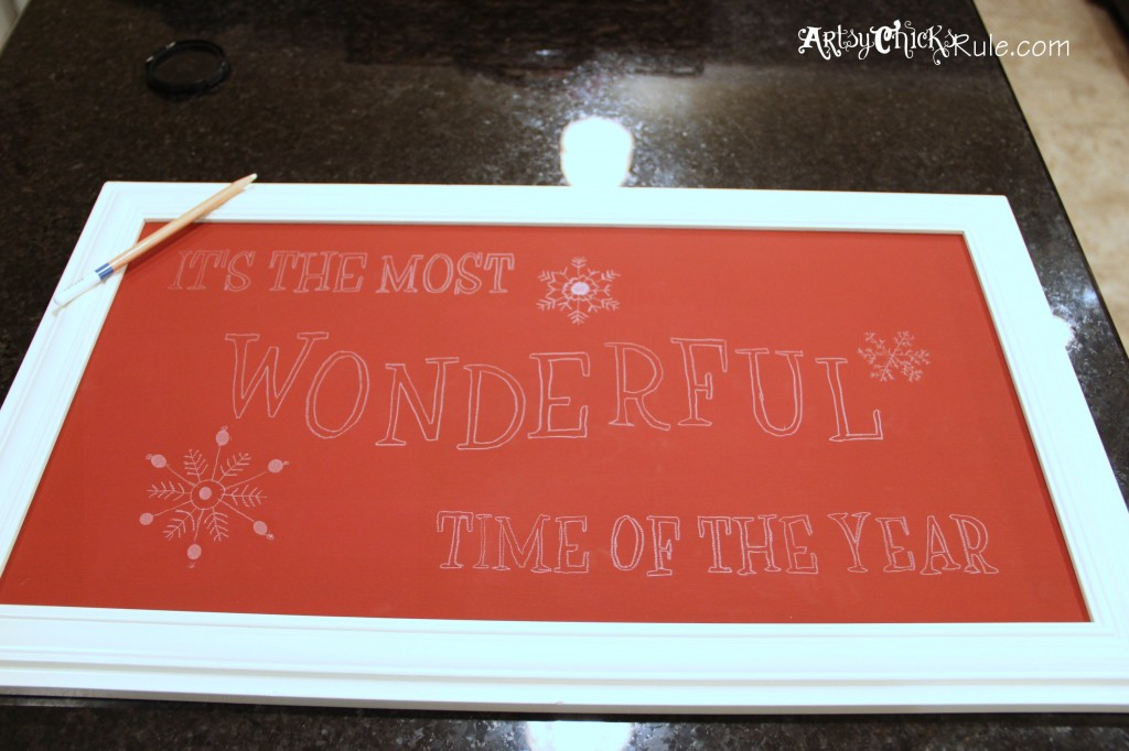 Holiday Sign - Pottery Barn Inspired - Image Transferred Via Projecter w White Water Color Pencil (2)