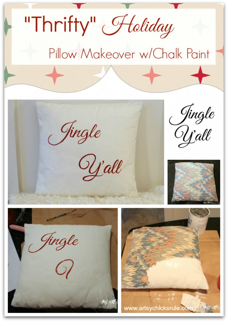 Jingle Y'all Painted Thrift Store Pillow w Chalk Paint