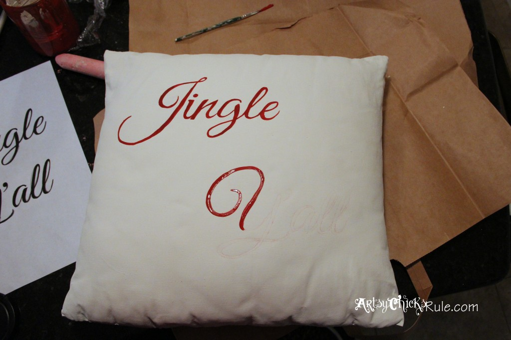 Jingle Y'all Pillow During Painting - Chalk Paint