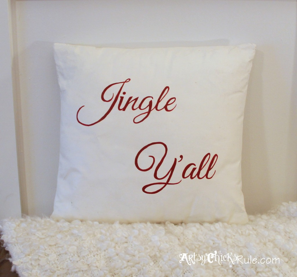 Jingle Y'all Thrift Store Pillow - Painted w Chalk Paint - Hand Painted Graphics