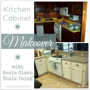 Kitchen Cabinet Makeover w/Chalk Paint