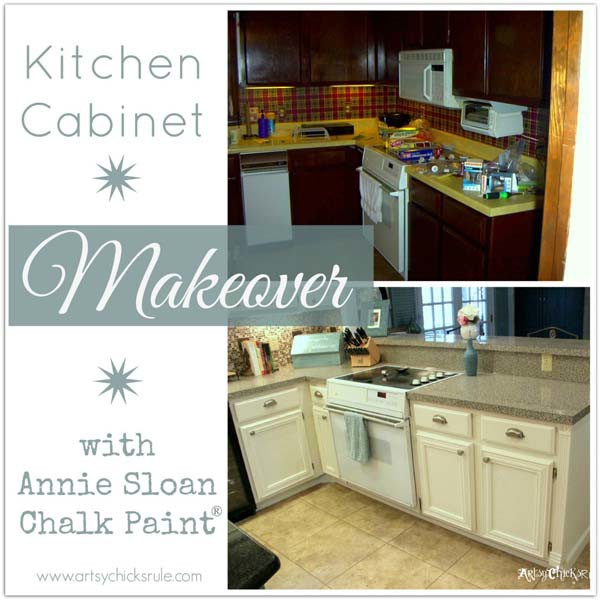 Kitchen Cabinets Ideas painting kitchen cabinets with chalk paint : Kitchen Cabinet Makeover (Annie Sloan Chalk Paint) - Artsy Chicks ...