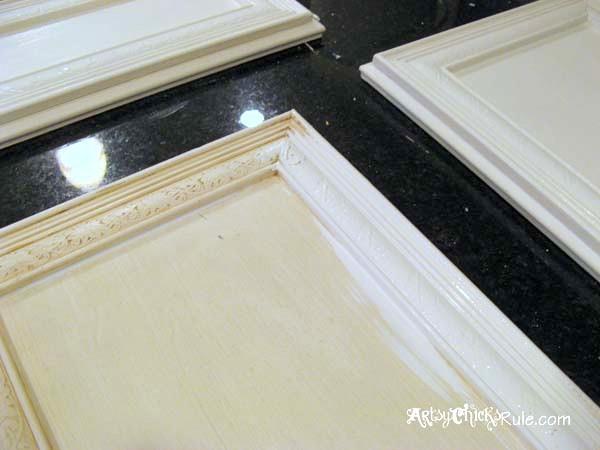 Kitchen Cabinet Makeover w Chalk Paint First Coat Door