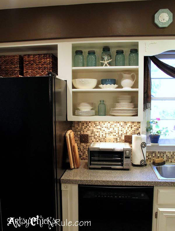 Kitchen Cabinet Makeover with Chalk Paint Cabinet Turned Open Shelf