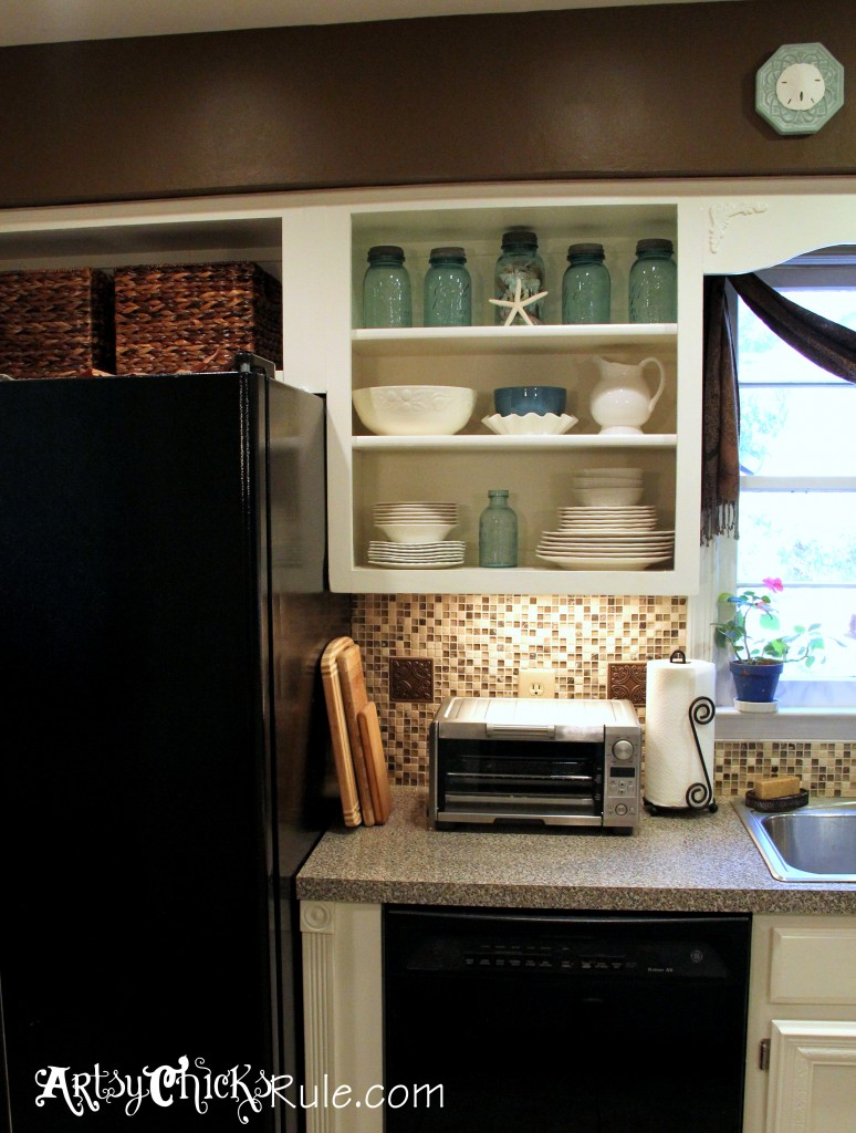 Kitchen Cabinet Makeover with Chalk Paint Cabinet Turned Open Shelf - artsychicksrule.com #chalkpaint #kitchenmakeover #kitchen
