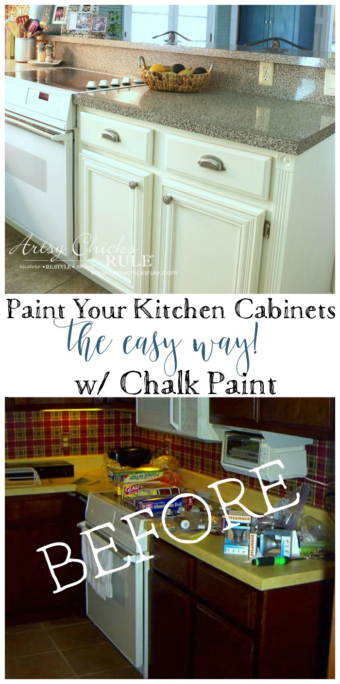Easy Kitchen Makeover Kitchen Cabinet Makeover Annie Sloan Chalk Paint Artsy Chicks