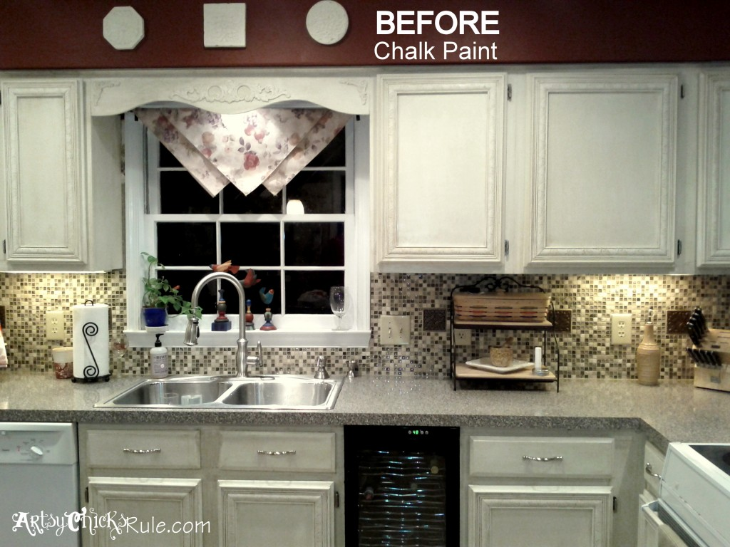 Kitchen Semi Before (and before chalk paint) - artsychicksrule.com #chalkpaint #kitchenmakeover #kitchen