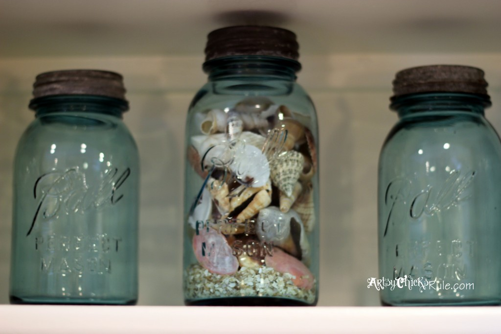 Kitchen Shelve Details - Blue Ball Mason Jars - Coastal Decor - artsychicksrule.com #chalkpaint #kitchenmakeover #kitchen
