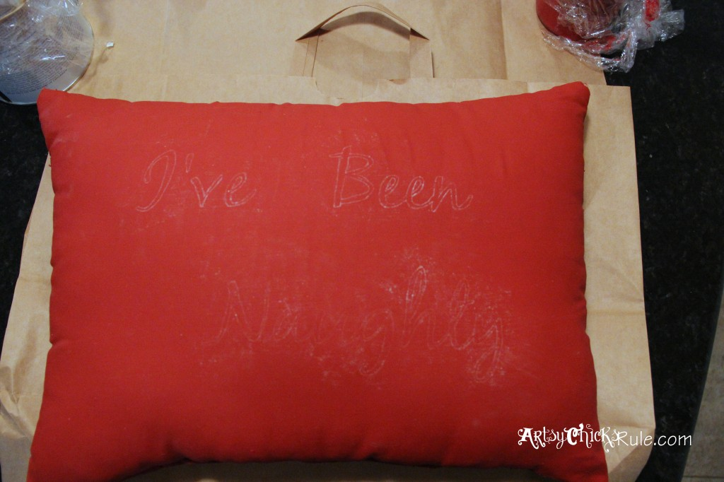 Naughty and Nice Pillow Painted with Emperors Silk Chalk Paint - Chalk Graphics Transfer Method